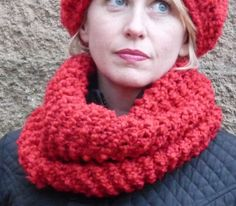 Ladies Red Knit Cowl Scarf by lovemyknits on Etsy, $25.00