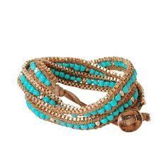 Turquoise Wrap Bracelet ❤ liked on Polyvore