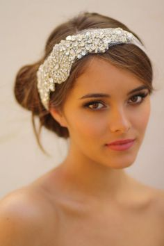 All Crystal Bridal Bandeau All Silver with White by DolorisPetunia, $435.00