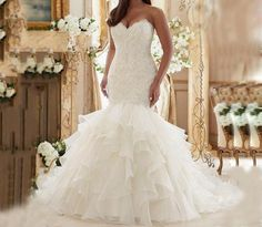 Luxury Lace Ruffled Plus Size Wedding Dresses Mermaid Bridal gown