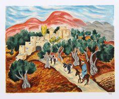 """Israel Paldi (Ukrainian born Israeli, 1892 - 1979)  """"Scenes of Jerusalem I"""""""