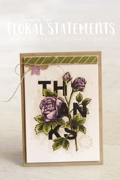 By Teneale Williams   Stampin'Up! Floral Statements Clear Stamp Set   Watercolor Vintage Cardmaking
