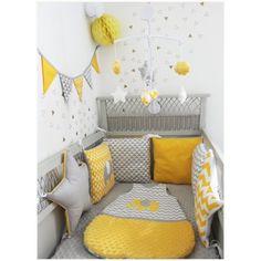 Tour de lit carré et étoile thème éléphant jaune et gris clair - Les Petits Gosses Miniatures