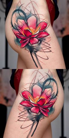 Popular Watercolor Lily Lotus Side Thigh Hip Tattoo Ideas for Women - ideas de tatuaje de cadera de loto para las mujeres - www.MyBodiArt.com #TattooIdeasForWomen