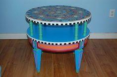 Funky Round Mosaic Table #vintagemaya #mosaic #handcraft #home decor #round mosaic table