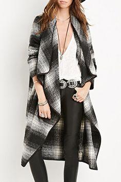 Looks I LOVE! Grey Tartan Stand Collar Long Sleeves Long Coat #Grey #Tartan #Plaid #Duster #Fall #Fashion #Outfit #Ideas
