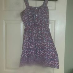 Button pleated front spring dress Strawberry and flower print. Says large but more like a medium. piper and blue Dresses