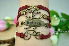 Retro Bronze Leather braceletInfinity Love Believe by Evanworld, $5.50