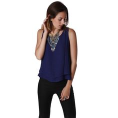 Would you buy this Ink Blue Double Layer Cami Top? Available now at DIGDU http://www.digdu.com/products/ink-blue-double-layer-cami-top