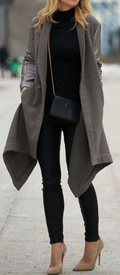 Grey Patchwork Single Button Coat