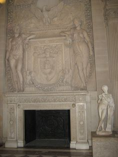 Fireplace sculpture in the Louvre. Fireplaces, Chalk Paint, Stained Glass, Beauty Hacks, Mosaic, Louvre, Sculpture, Flooring, Interior Design
