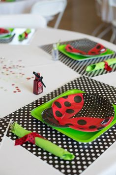 Ladybug themed baby shower:  Place settings.
