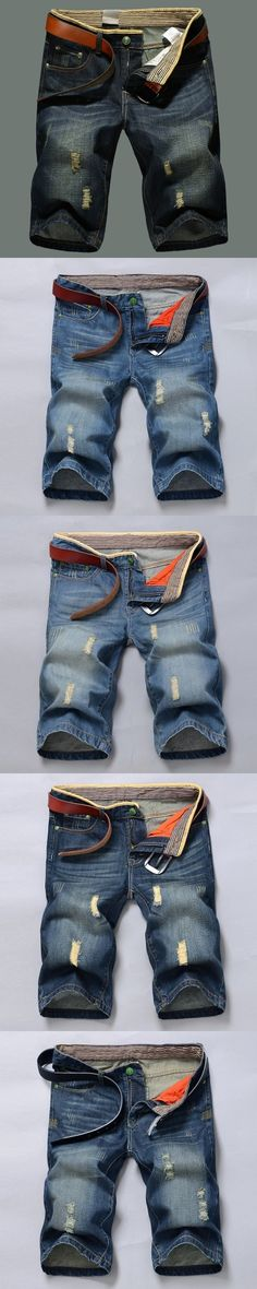 Denim shorts male summer thin section youth summer men's jeans straight Slim tide men's section five pants