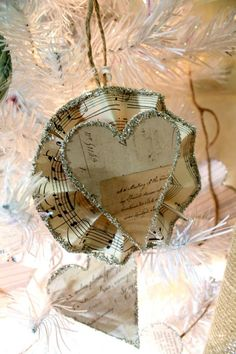 I would love to use my old sheet music for ornaments, valentines, etc.  Love this!