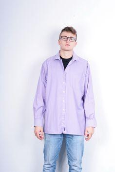 Rover & Lakes Mens XXL 45/46 Casual Shirt Striped Bugelfrei Purple Cotton