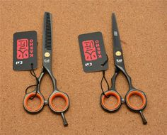 [Visit to Buy] 5.5'' 16cm Japan Kasho Toppest 440C Black Professional Human Hair Scissors Hairdressing Cutting Shears Thinning Scissors H1004 #Advertisement