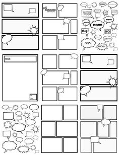 *** Could use for graphic organizers. *** FREE COMIC STRIP TEMPLATES~ Great for kids to color, cut out, and glue to create their own comic strips. Fun Writing Activities, Teaching Writing, Writing Prompts, Teaching Resources, Cool Writing, Creative Writing, Comic Book Writing, Superhero Writing, Writing Comics
