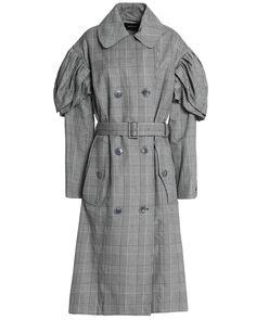 f36da2ad Simone Rocha - Gray Gathered Checked Cotton-blend Trench Coat - Lyst Check  Coat,
