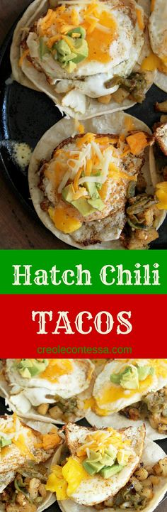 Hatch Chili Breakfast Tacos -Creole Contessa #tacotuesday