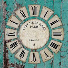 DECOPAULA Rustic Wall Clocks, Rustic Walls, Clock Face Printable, Coffee Clock, Clock Template, Clock Craft, Paris France, Face Images, Vintage Travel Posters