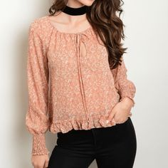 Smock Cuff Tie Neck Peasant Blouse Abstract Print Pleat Ruffle  #fashion #style #top