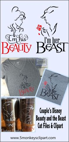 Couple's Beauty and the beast svg files for Silhouette Cameo, Cricut Explore and other personal cutting machines!---------------------------------------- Couples disney shirts, couple disney, disney svg files, beauty and the beast svg. Disney vacation shirts, just married disney from 5 monkeys clipart