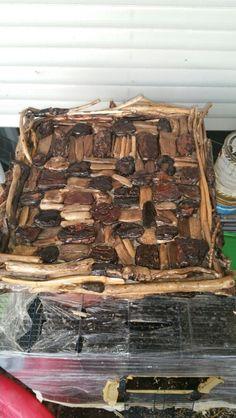 Ornamental driftwood chessboard