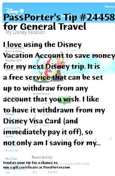 PassPorter Tip #24458: I love using the Disney Vacation Account to save money for my next Disney trip. It is a free service that can be set up to withdraw from any account that you wish. I like to have it withdrawn from my Disney Visa Card (and immediately pay it off), so not only am I saving for my next trip but I am also earning Disney Rewards Points at the same time that can be redeemed on your Disney Rewards Card, same as a gift card. In addition, until December 31, 2017, Disney will…