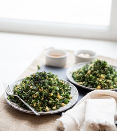 Chopped Kale Salad with Chickpeas, Toasted Almonds, Sesame Seeds and Honey Ginger Dressing.
