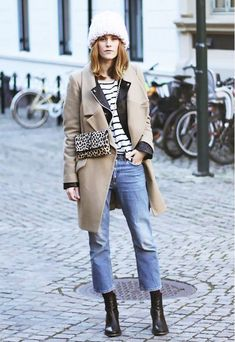glamradar cropped lfares striped tee black leather moto jacket camel winter coat fall jacket winter coat booties flares and booties cropped pants and booties beanie chunky knit hat leopard print crossbody bag fall layers Fashion Mode, Look Fashion, Winter Fashion Outfits, Autumn Winter Fashion, Cool Winter, Winter Coat, Winter Style, Flare Jeans Outfit, Crop Flare Jeans