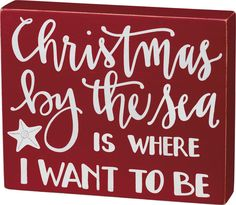 Christmas by the Sea Red Box Sign signs and sayings beach signs signs wooden signs directional beach signs Tropical Christmas, Beach Christmas, Coastal Christmas, Christmas Time, Christmas Crafts, Christmas Ornaments, Vintage Beach Signs, Beach Signs Wooden, Holiday Signs