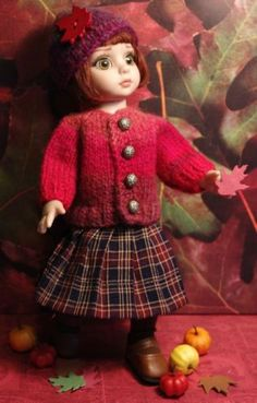 "~JeWeLs FRoM My HeaRT~ HandKnit Sweater,Hat,Skirt for Patsy,Ann Estelle 10""Dolls"