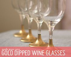 DIY - Gold Dipped Holiday Glasses using Rust-Oleum's Metallic Spray Paint. Full Step-by-Step Tutorial.