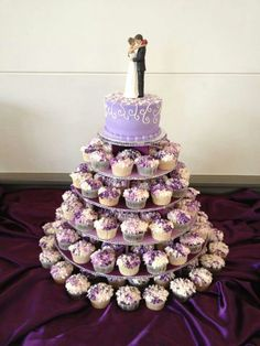 Hydrangea cupcake tree decorated with a bit of bling. www.mitchels.ca #wedding #weddingcakes #hydrangea #cupcakes