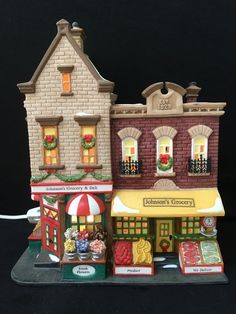 Items similar to Johnson's Grocery & Deli Dept 56 # 58886 Retired on Etsy Christmas Village Collections, Christmas Village Houses, Christmas Villages, Christmas Crafts, Christmas Ornaments, Christmas Trees, Bakery Sign, Christmas In The City, Ceramic Houses