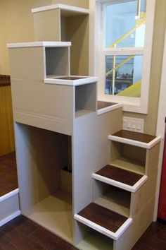 19 amazing loft stair for tiny house ideas - Home Design Tiny House Stairs, Tiny House Loft, Loft Stairs, Tiny House Living, Tiny House Plans, Tiny House Design, Garage Stairs, Garage Loft, Living Room