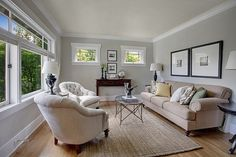 Lisa Lucas Design - Seattle Greenlake Craftsman - Sherwin Williams Useful Gray is fantastic for updating caramel colors for a more current appeal.