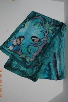 100 Silk Wearable Art Scarf Hand Painted by Purpose4Everything, $25.75
