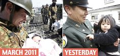 a baby girl was rescued by a soldier days after the tsunami - they reunited after a year! LEFT - March 2011 and RIGHT - April 2012