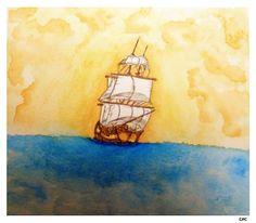 Ship watercolor illustration