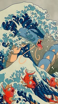 The Great Wave, an art print by Missy Pena - Pokemon Pokemon Tattoo, O Pokemon, Pokemon Fan Art, Pikachu, Pokemon Gyarados, Animes Wallpapers, Cute Wallpapers, Pokemon Painting, Pokemon Backgrounds