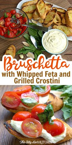 Grilled French baguette that was sliced on an angle and brushed with olive oil then spread with delicious whipped feta spread and topped with fresh marinated grape tomatoes, this recipe for Bruschetta with Whipped Feta and Grilled Crostini is a must-make! #bruschetta #appetizer Snacks Recipes, Grilling Recipes, Great Recipes, Healthy Snacks, Cooking Recipes, Favorite Recipes, Healthy Recipes, Appetizer Dips, Appetizers For Party