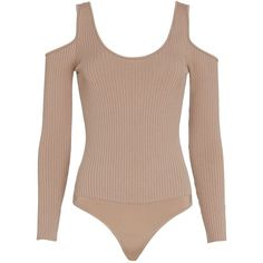 Exclusive for Intermix Jayce Cold Shoulder Knit Bodysuit: Blush ($185) ❤ liked on Polyvore featuring tops, bodysuit, brown tops, long sleeve scoop neck top, bodysuit tops, cut out shoulder tops and long sleeve tops