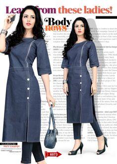 India Fashion, Ethnic Fashion, Pakistani Dresses, Indian Dresses, Denim Kurti, Chic Outfits, Fashion Outfits, Kurta Patterns, Kurta Designs Women
