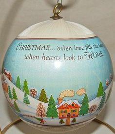 Hallmark 1979 Love Fills Heart Home Satin Ball - back of ornament - New Home
