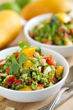 My broccoli salad recipe is easy to make with mangoes, peppers, cilantro and cashews in it and a sambal chili paste in the salad dressing to give it a kick.