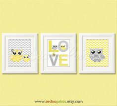 Yellow and grey owl Nursery Art Print Set  5x7  by SednaPrints, $25.00