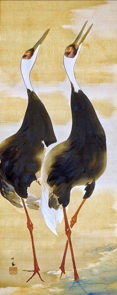 TAKEUCHI Seiho (1864~1942), Japan. Cranes. Japanese hanging scroll.