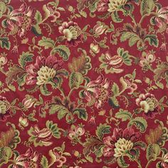 Swavelle / Mill Creek Noblesse Ruby Fabric - by the Yard Fabric Wallpaper, Pattern Wallpaper, Flowery Wallpaper, Fabric Patterns, Print Patterns, Fabric Design, Textile Design, Art Chinois, Art Japonais