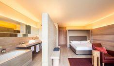 Luxury hotel rooms Vigilius Mountain Resort, a design hotel created by architect, Matteo Thun